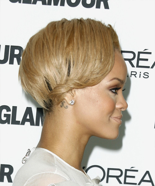 Rihanna Short Straight Alternative Undercut Hairstyle - Medium Blonde (Golden) Hair Color - side on view