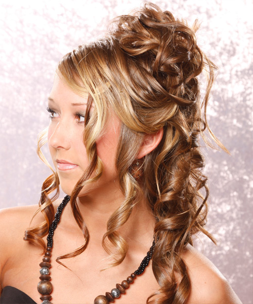 Formal Curly Half Up Hairstyle - Light Brunette (Golden) - side view