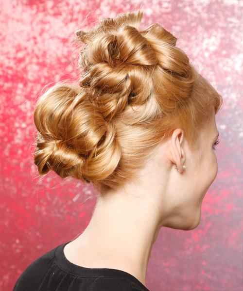Updo Long Curly Formal  - side on view
