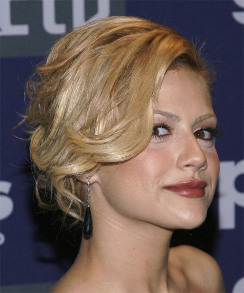 Brittany Murphy - Formal Updo Medium Curly Hairstyle - side view