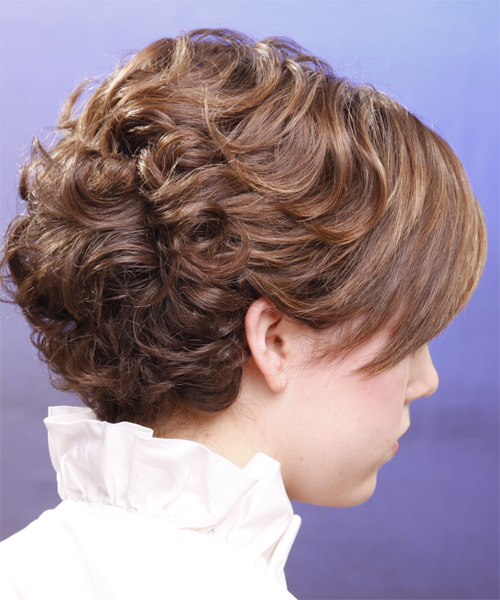Short Curly Formal Hairstyle with Side Swept Bangs - Light Brunette (Chestnut) Hair Color - side on view