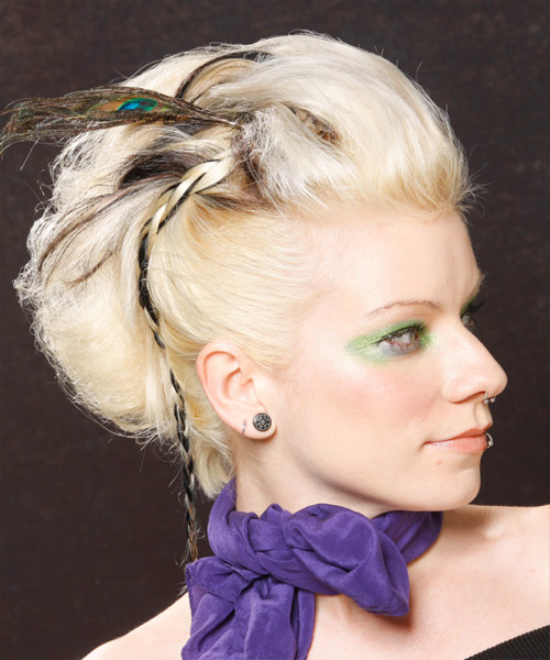 Formal Curly Updo Hairstyle - Light Blonde (Platinum) - side view 2