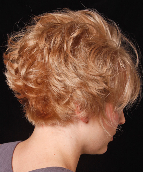 Short Wavy Casual Hairstyle with Layered Bangs - Medium Blonde (Strawberry) Hair Color - side on view
