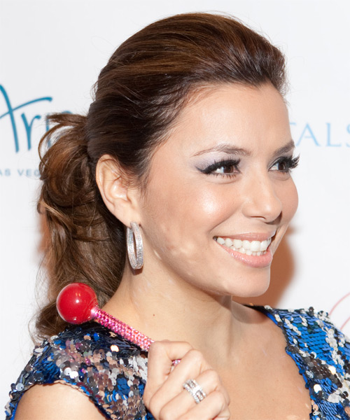 Eva Longoria Parker Curly Casual Updo Hairstyle - side on view