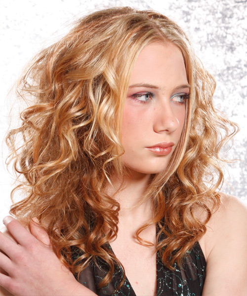 Long Curly Alternative Hairstyle - Medium Blonde (Copper) - side view 2