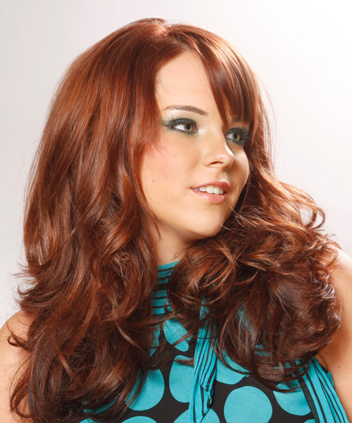 Long Wavy Formal Hairstyle with Side Swept Bangs - Dark Red Hair Color - side on view