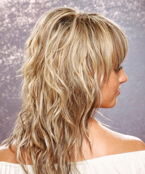 Long Wavy Casual Hairstyle with Layered Bangs - Medium Blonde (Champagne) Hair Color - side on view