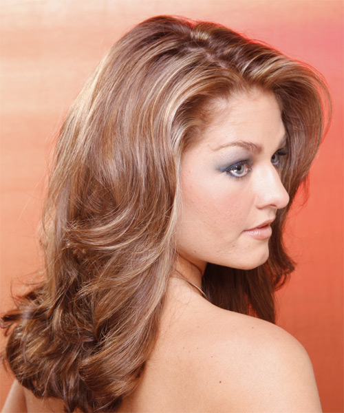 Long Wavy Formal Hairstyle - Light Brunette Hair Color - side on view