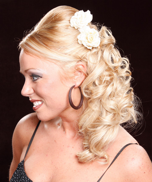 Curly Formal Half Up Hairstyle with Side Swept Bangs - Medium Blonde (Honey) Hair Color - side on view
