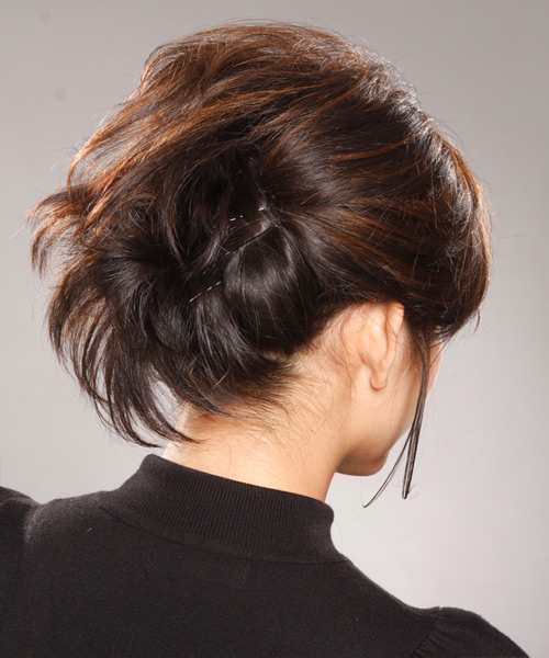 Updo Medium Straight Formal - side on view