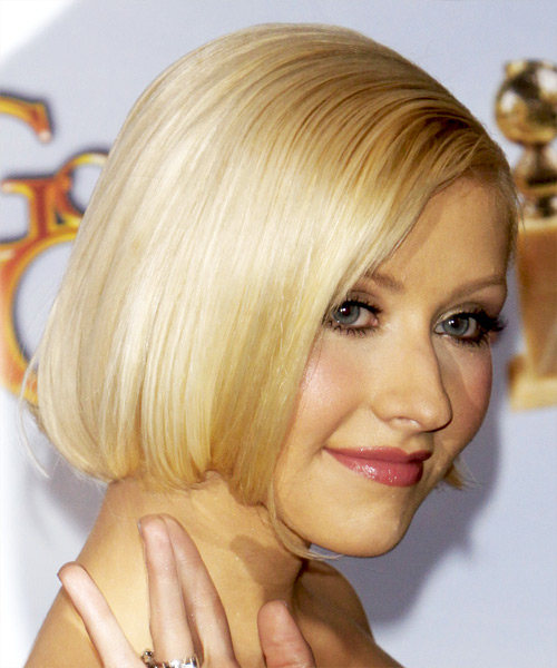 Christina Aguilera Medium Straight Formal Bob- side on view
