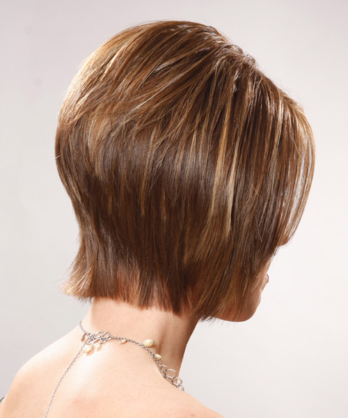 Medium Straight Formal Bob Hairstyle - Light Brunette (Caramel) Hair Color - side on view