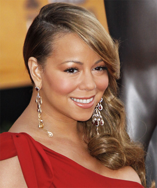 Mariah Carey Long Wavy Formal Hairstyle - Light Brunette (Caramel) Hair Color - side on view