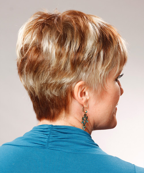 Short Straight Formal Hairstyle (Copper) - side view 2