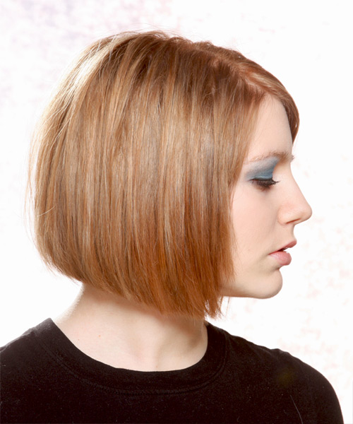 Medium Straight Casual Bob - Light Brunette (Copper) - side on view