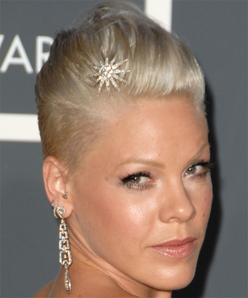 Pink Short Straight Hairstyle - side view