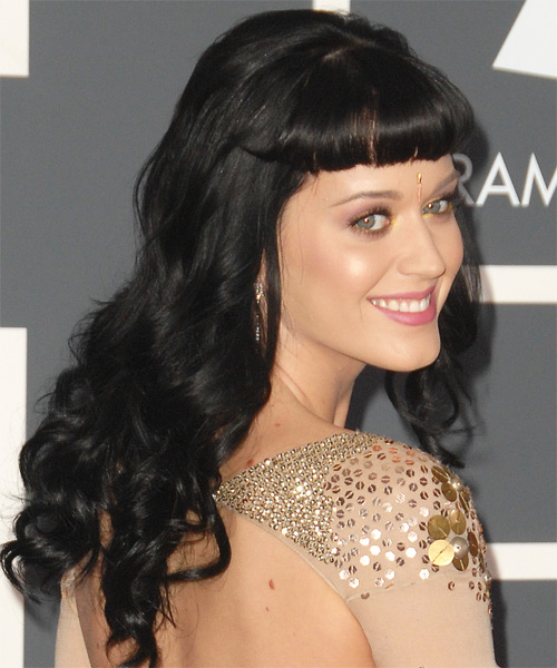 Katy Perry Long Wavy Hairstyle - Black - side view 2