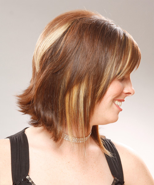 Medium Straight Formal Hairstyle with Side Swept Bangs - Light Brunette (Auburn) Hair Color - side on view
