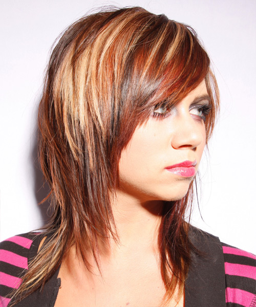 Fine Long Straight Casual Hairstyle Dark Red Thehairstyler Com Short Hairstyles Gunalazisus