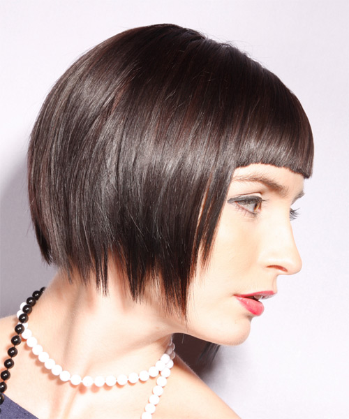 Short Straight Alternative Bob with Blunt Cut Bangs (Chocolate) - side on view