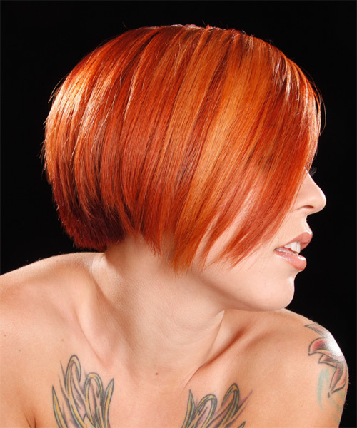 Short Straight Alternative  - Medium Red (Bright) - side on view