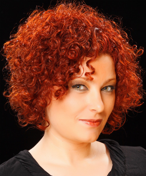 Short Curly Casual  - Medium Red - side on view