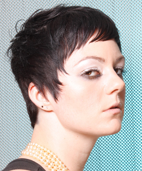 Short Straight Casual Hairstyle - Black - side view 2
