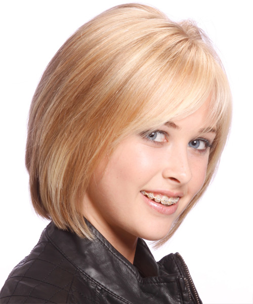 Medium Straight Casual Bob Hairstyle with Side Swept Bangs - Light Blonde (Strawberry) Hair Color - side on view