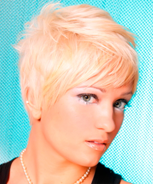 Short Straight Alternative Hairstyle - Light Blonde (Platinum) Hair Color - side on view