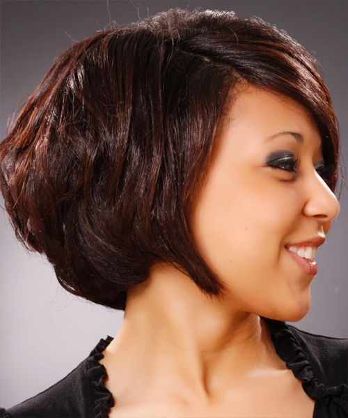 Medium Straight Formal Hairstyle - Dark Brunette (Burgundy) - side view 2