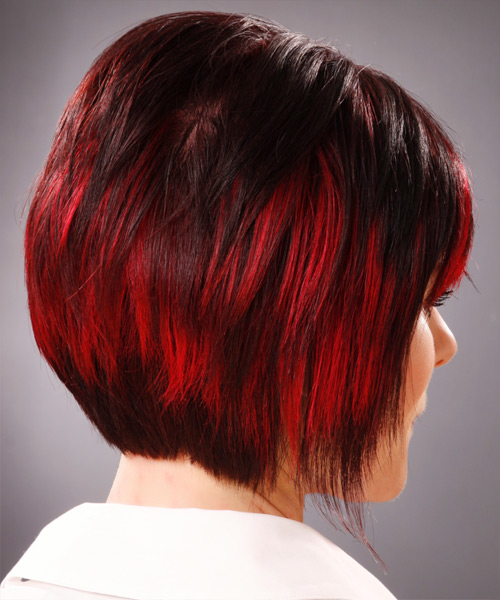 Medium Straight Alternative Hairstyle with Side Swept Bangs - Dark Red (Bright) Hair Color - side on view