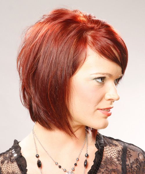 Medium Straight Casual Bob Hairstyle with Side Swept Bangs - Light Red (Bright) Hair Color - side on view