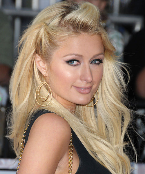 Paris Hilton Half Up Long Straight Hairstyle - side view 2