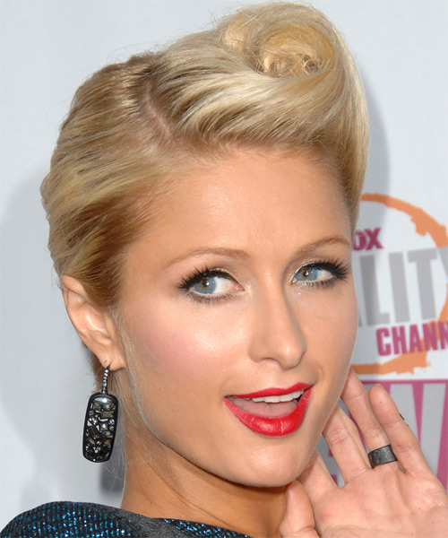 Paris Hilton Curly Formal Updo Hairstyle - side on view