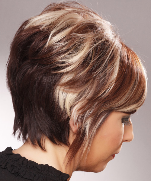 Short Straight Formal Hairstyle with Side Swept Bangs - Medium Brunette Hair Color - side on view