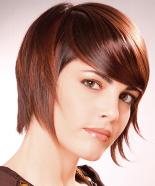 Short Straight Alternative Hairstyle with Side Swept Bangs - Light Brunette (Chestnut) Hair Color - side on view