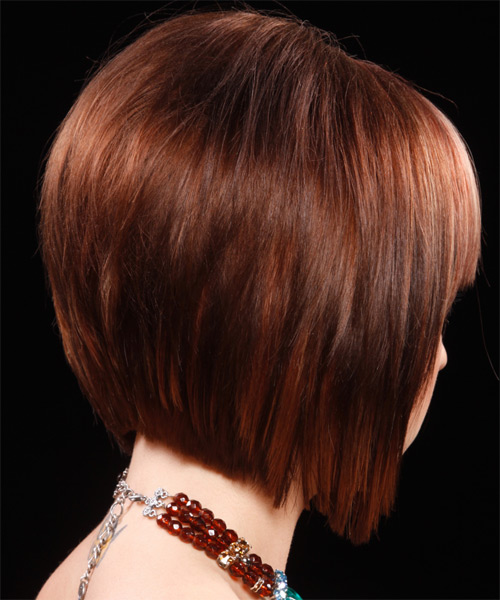 Medium Straight Formal Bob Hairstyle with Blunt Cut Bangs - Dark Red Hair Color - side on view