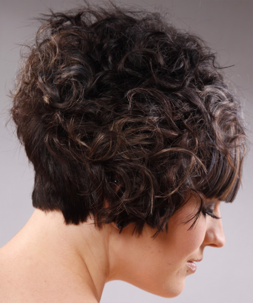 Short Wavy Alternative  with Blunt Cut Bangs - Dark Brunette - side on view
