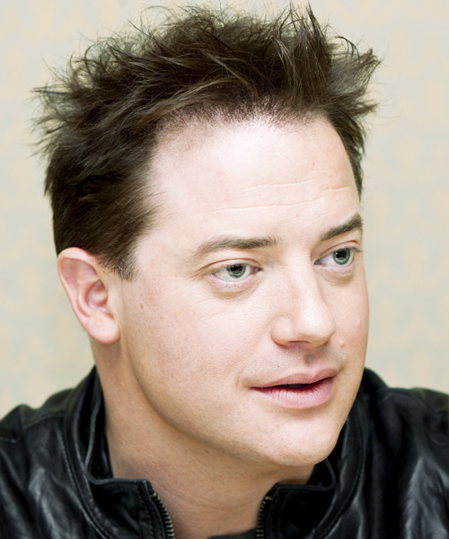 Brendan Fraser Short Straight Hairstyle - Medium Brunette (Ash) - side view 2