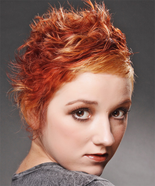 Short Wavy Alternative Hairstyle - Medium Red (Bright) Hair Color - side view