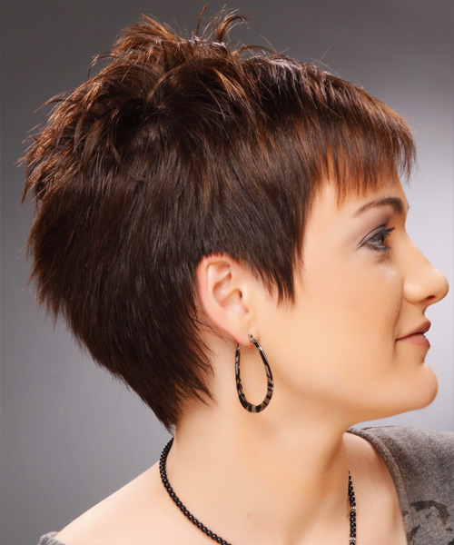 Short Straight Casual Pixie- side on view