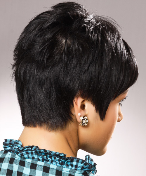 Short Straight Casual Hairstyle - Black (Ash) - side view 2
