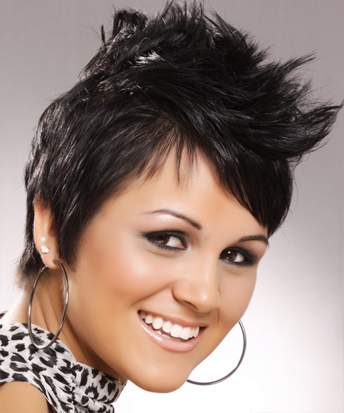 Short Straight Alternative Hairstyle with Side Swept Bangs - Black Hair Color - side on view