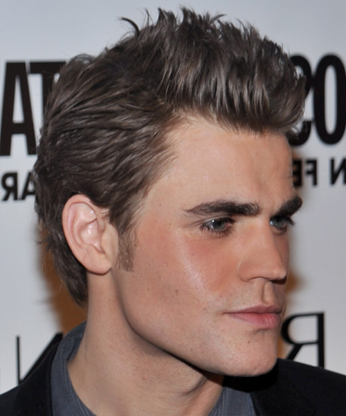 Paul Wesley Short Straight Hairstyle - Medium Brunette (Ash) - side view 2