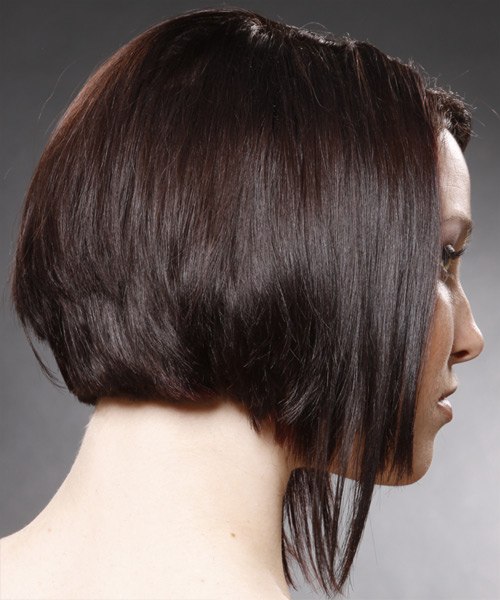 Medium Straight Alternative Hairstyle - Dark Brunette (Mocha) Hair Color - side on view