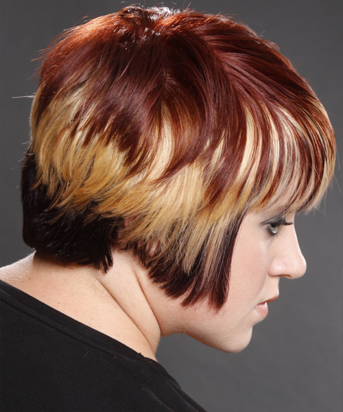 Short Straight Alternative Hairstyle with Layered Bangs - Dark Red (Mahogany) Hair Color - side on view
