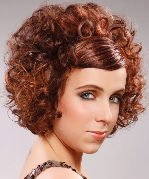 Short Curly Formal  with Side Swept Bangs - Medium Red (Mahogany) - side on view