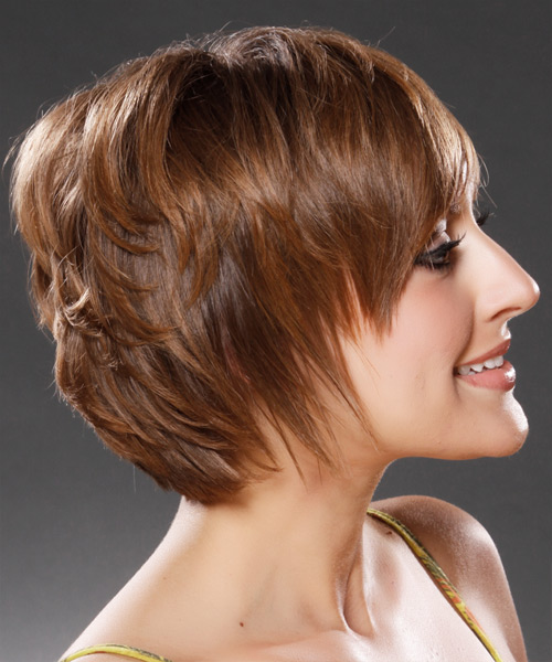 Short Straight Casual Hairstyle - Medium Brunette (Caramel) Hair Color - side on view