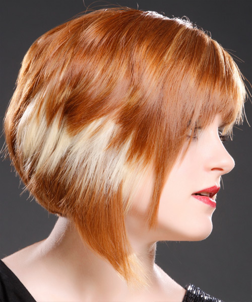 Short Straight Alternative  with Razor Cut Bangs (Ginger) - side on view