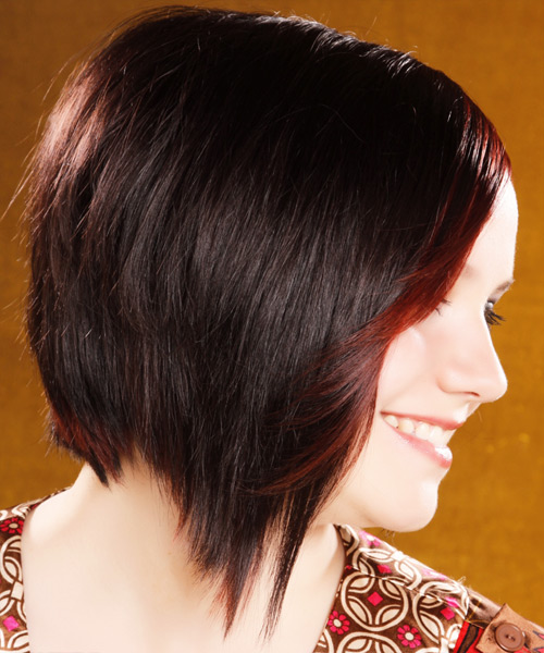 Medium Straight Alternative  with Side Swept Bangs - Dark Brunette (Burgundy) - side on view